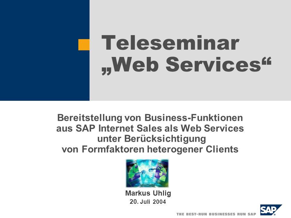 SAP AG 2004, Teleseminar Web Services (Universität Mannheim), Markus Uhlig 2 Inhalt 1.Übersicht SAP 2.Einsatz von Web Services bei SAP 3.Einführung Internet Sales Application (ISA) 4.Anforderungsspezifikation 5.Systemarchitektur von Web Services für ISA 6.Datenadaption durch Content Repurposing 7.Design 8.Implementierung 9.Performance 10.Fazit