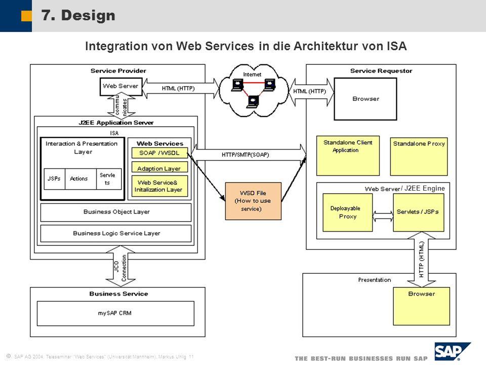 SAP AG 2004, Teleseminar Web Services (Universität Mannheim), Markus Uhlig 11 7. Design Integration von Web Services in die Architektur von ISA / J2EE