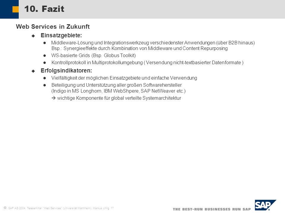 SAP AG 2004, Teleseminar Web Services (Universität Mannheim), Markus Uhlig 17 10. Fazit Web Services in Zukunft Einsatzgebiete: Middleware-Lösung und