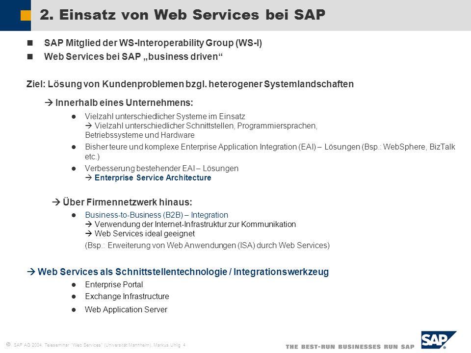 SAP AG 2004, Teleseminar Web Services (Universität Mannheim), Markus Uhlig 4 2. Einsatz von Web Services bei SAP SAP Mitglied der WS-Interoperability