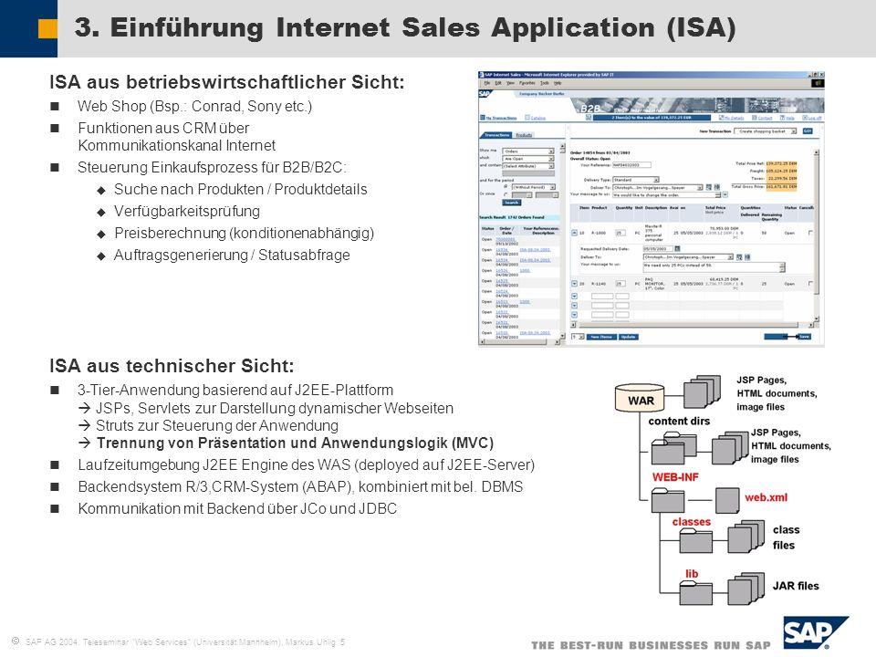 SAP AG 2004, Teleseminar Web Services (Universität Mannheim), Markus Uhlig 5 3. Einführung Internet Sales Application (ISA) ISA aus betriebswirtschaft