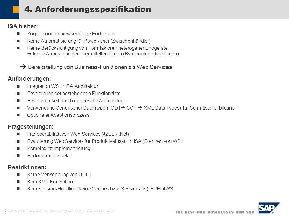 SAP AG 2004, Teleseminar Web Services (Universität Mannheim), Markus Uhlig 6 4. Anforderungsspezifikation ISA bisher: Zugang nur für browserfähige End