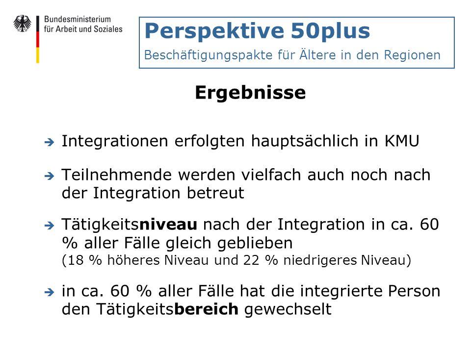 Perspektive 50plus Beschäftigungspakte für Ältere in den Regionen Ergebnisse è Integrationen erfolgten hauptsächlich in KMU è Teilnehmende werden viel