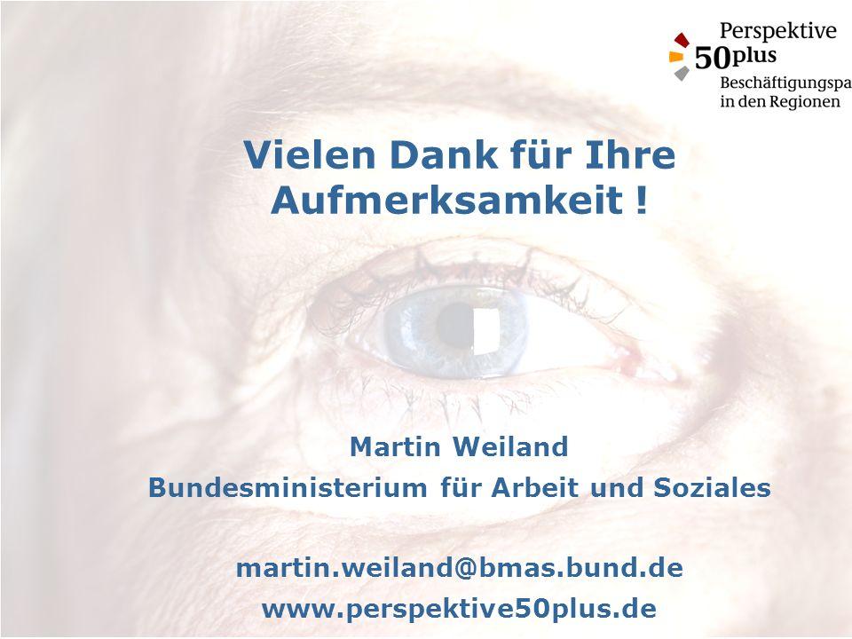 Vielen Dank für Ihre Aufmerksamkeit ! Martin Weiland Bundesministerium für Arbeit und Soziales martin.weiland@bmas.bund.de www.perspektive50plus.de