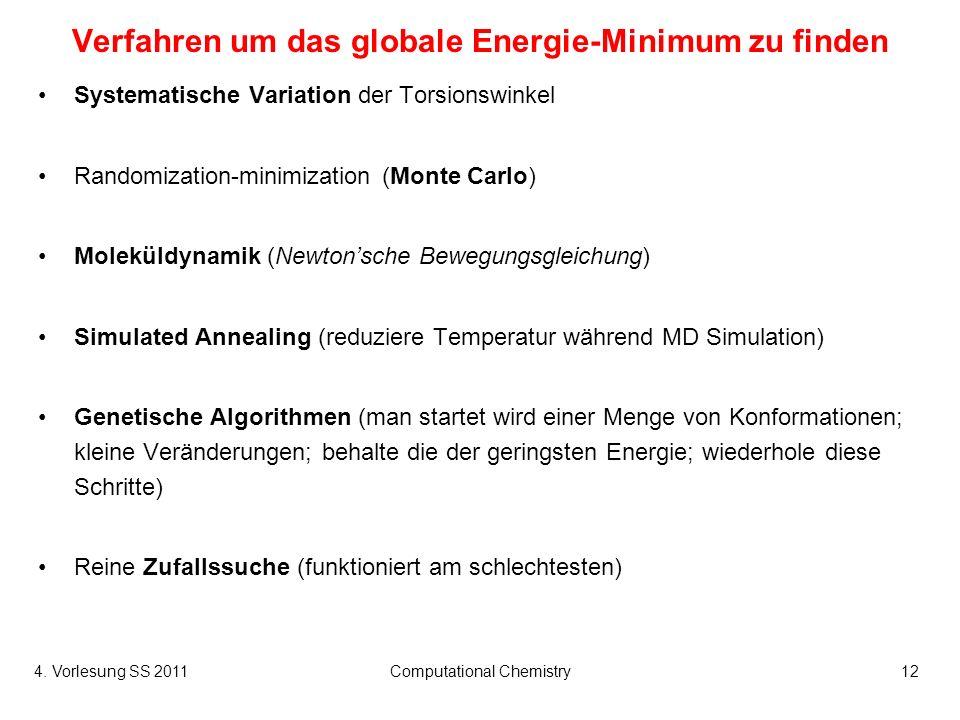 4. Vorlesung SS 2011Computational Chemistry12 Verfahren um das globale Energie-Minimum zu finden Systematische Variation der Torsionswinkel Randomizat
