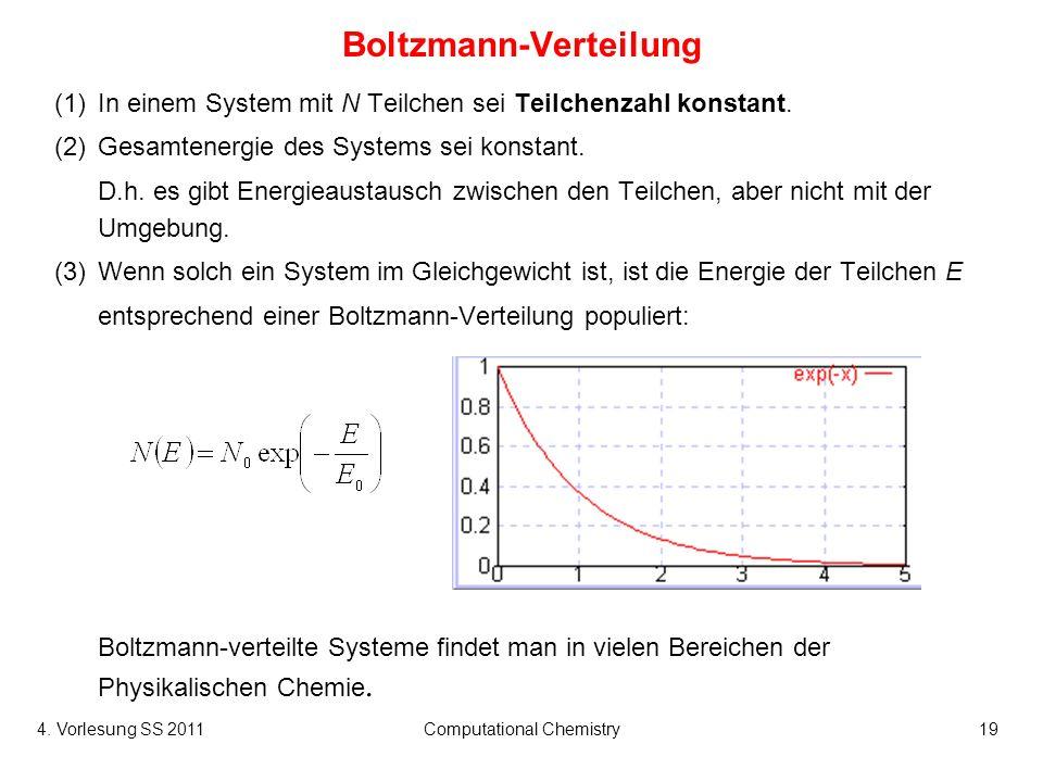 4. Vorlesung SS 2011Computational Chemistry19 Boltzmann-Verteilung (1)In einem System mit N Teilchen sei Teilchenzahl konstant. (2)Gesamtenergie des S