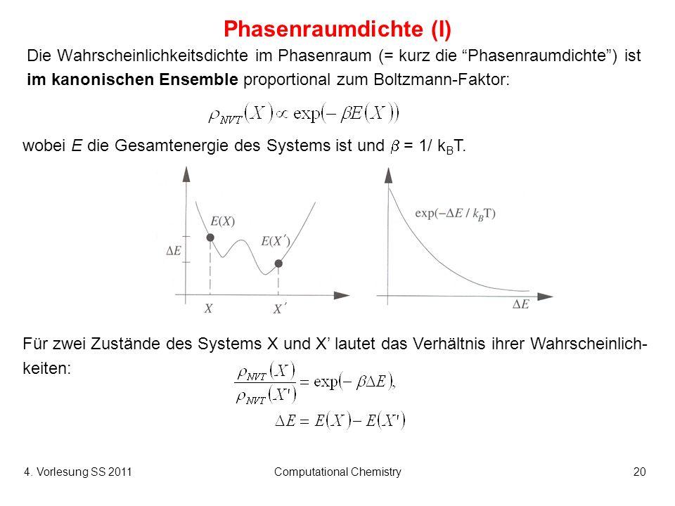 4. Vorlesung SS 2011Computational Chemistry20 Phasenraumdichte (I) Die Wahrscheinlichkeitsdichte im Phasenraum (= kurz die Phasenraumdichte) ist im ka