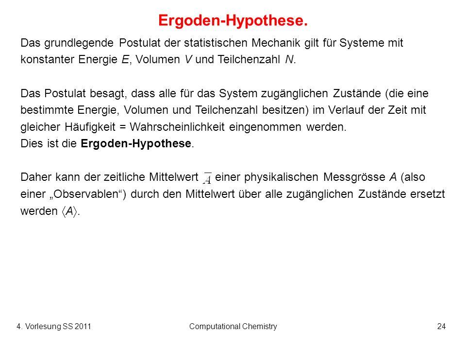 4. Vorlesung SS 2011Computational Chemistry24 Ergoden-Hypothese. Das grundlegende Postulat der statistischen Mechanik gilt für Systeme mit konstanter