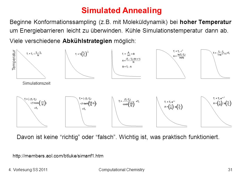 4. Vorlesung SS 2011Computational Chemistry31 Simulated Annealing Beginne Konformationssampling (z.B. mit Moleküldynamik) bei hoher Temperatur um Ener