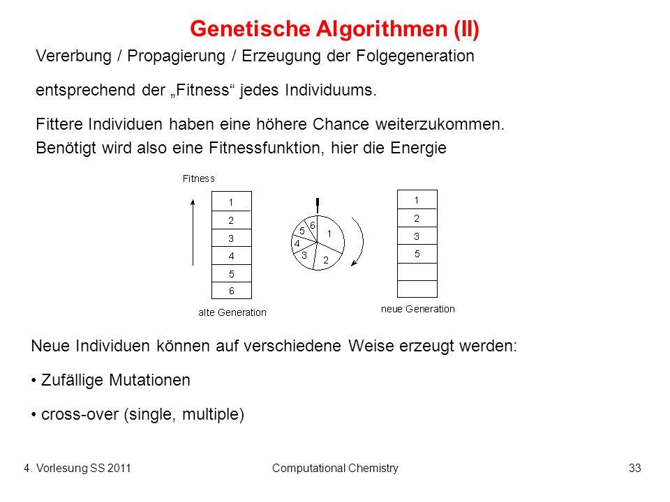 4. Vorlesung SS 2011Computational Chemistry33 Genetische Algorithmen (II) Vererbung / Propagierung / Erzeugung der Folgegeneration entsprechend der Fi