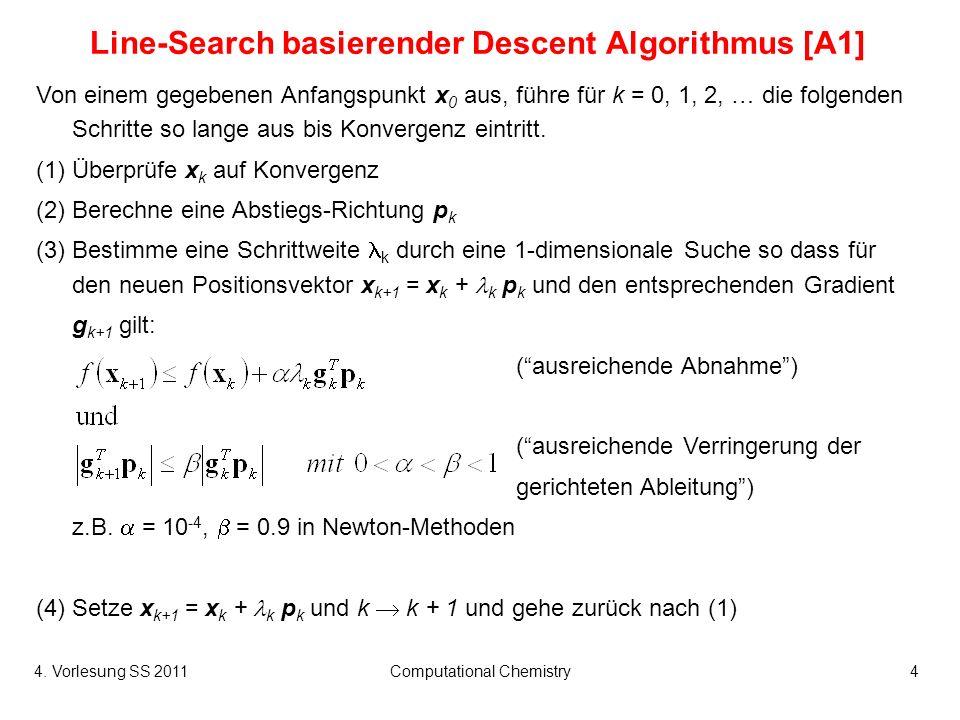 4. Vorlesung SS 2011Computational Chemistry4 Line-Search basierender Descent Algorithmus [A1] Von einem gegebenen Anfangspunkt x 0 aus, führe für k =