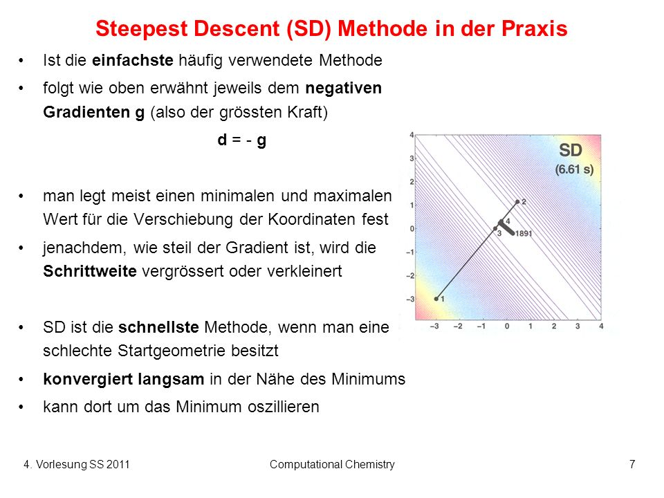 4. Vorlesung SS 2011Computational Chemistry7 Steepest Descent (SD) Methode in der Praxis Ist die einfachste häufig verwendete Methode folgt wie oben e