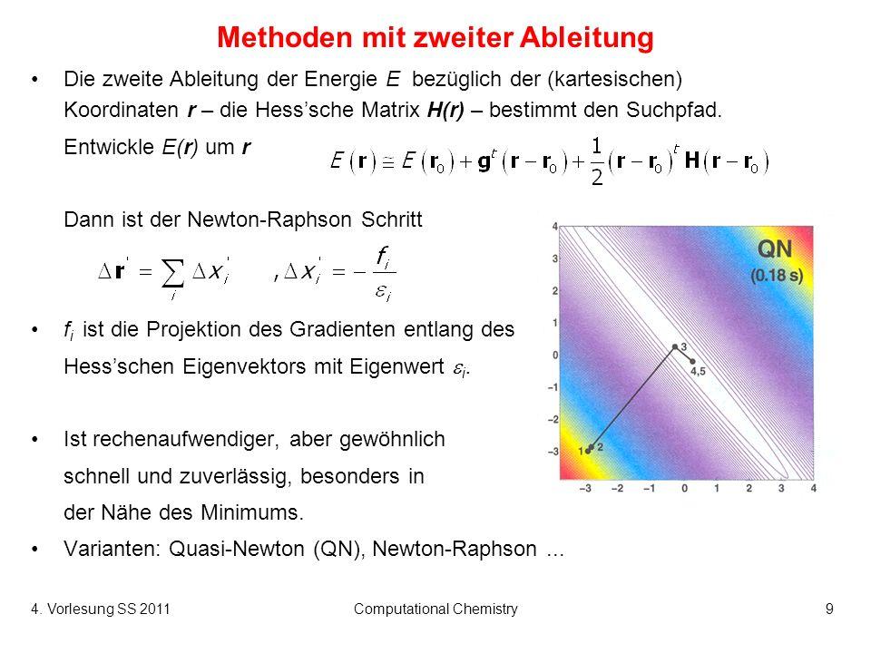 4. Vorlesung SS 2011Computational Chemistry9 Methoden mit zweiter Ableitung Die zweite Ableitung der Energie E bezüglich der (kartesischen) Koordinate