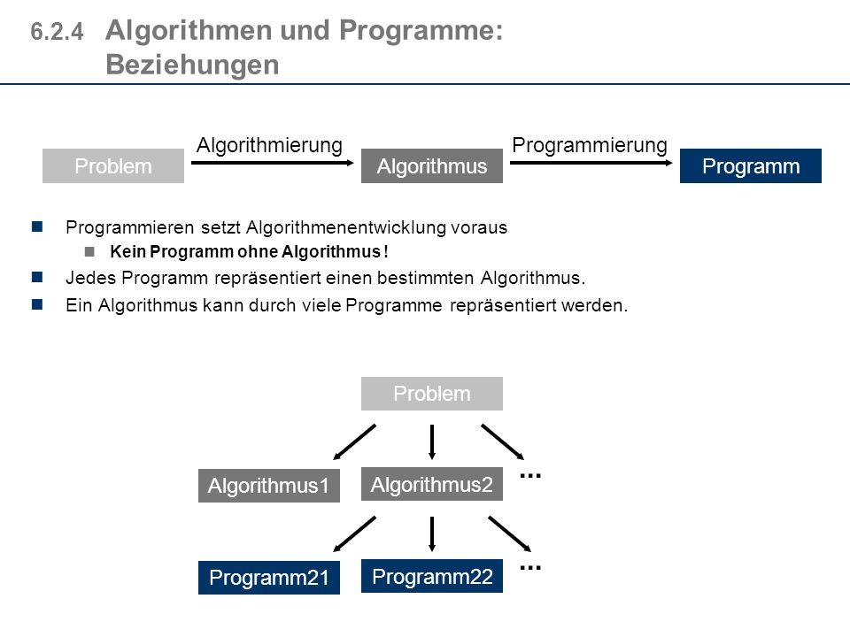 6.2.4Algorithmen und Programme: Der Weg gegeben: das Problem durch Spezifizieren wird das Problem formal beschrieben Durch Algorithmierung (Algorithme
