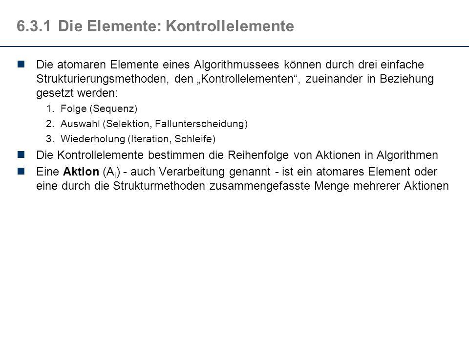6.3.1Die Elemente: atomare Elemente Anweisungen sind die atomaren Elemente eines Algorithmus, die Elemente also, aus denen ein Algorithmus aufgebaut i