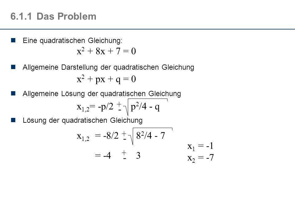 6.1.1Das Problem Eine quadratischen Gleichung: Allgemeine Darstellung der quadratischen Gleichung Allgemeine Lösung der quadratischen Gleichung Lösung der quadratischen Gleichung x 2 + 8x + 7 = 0 x 2 + px + q = 0 x 1,2 = -p/2 p 2 /4 - q + - x 1,2 = -8/2 8 2 /4 - 7 = -4 3 + - + - x 1 = -1 x 2 = -7