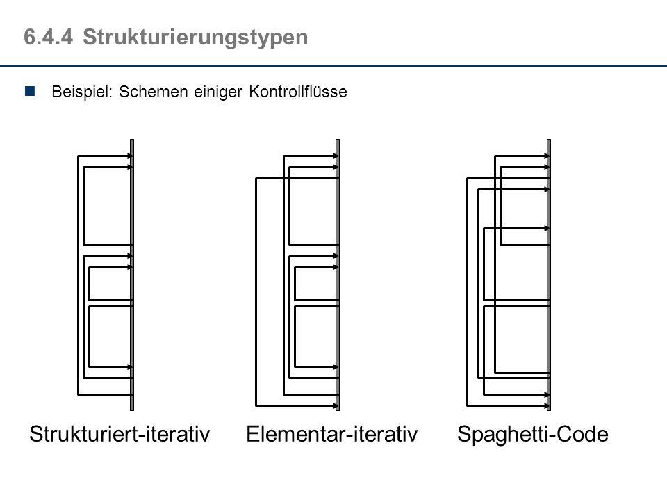 6.4.3Strukturiert-iterative Beschreibungsform Sprünge können alle höhere Strukturierungsarten funktional abbilden. Hier gilt auch der Umkehrschluss In
