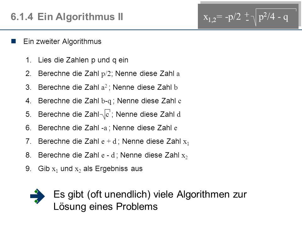 6.1.4Ein Algorithmus II Ein zweiter Algorithmus 1.Lies die Zahlen p und q ein 2.Berechne die Zahl p/2 ; Nenne diese Zahl a 3.Berechne die Zahl a 2 ; Nenne diese Zahl b 4.Berechne die Zahl b-q ; Nenne diese Zahl c 5.Berechne die Zahl c ; Nenne diese Zahl d 6.Berechne die Zahl -a ; Nenne diese Zahl e 7.Berechne die Zahl e + d ; Nenne diese Zahl x 1 8.Berechne die Zahl e - d ; Nenne diese Zahl x 2 9.