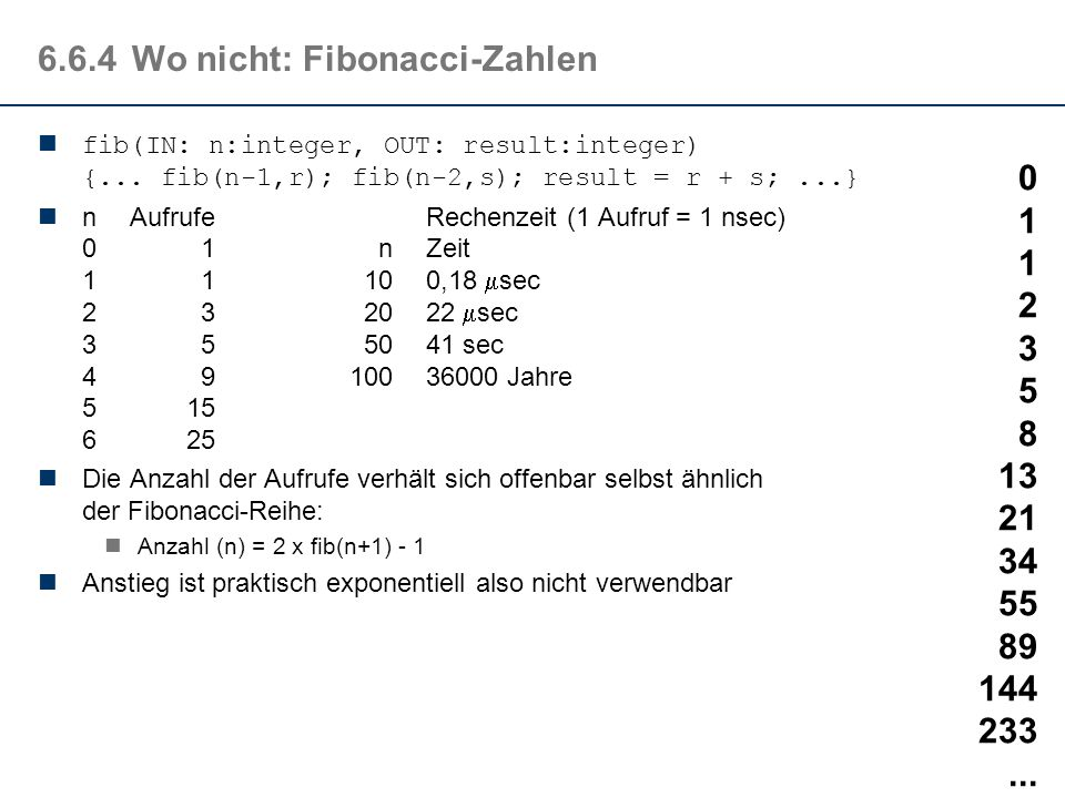 6.6.4Wo nicht: Fibonacci-Zahlen Fibonacci definiert im 13.Jahrhundert eine Zahlenfolge mit der die Verhältnisse des goldenen Schnitts ebenso beschrieben werden können, wie die Populationsentwicklung in einem Kaninchenstall: 0n = 0 fib(n)= 1n = 1 fib(n-2)+fib(n-1)n > 1 fib(IN: n:integer, OUT: result:integer) { r,s : integer; if (n==0) then result = 0 else if (n==1) then result = 1 else { fib(n-1,r); fib(n-2,s); result = r + s; } } 0 1 1 2 3 5 8 13 21 34 55 89 144 233...