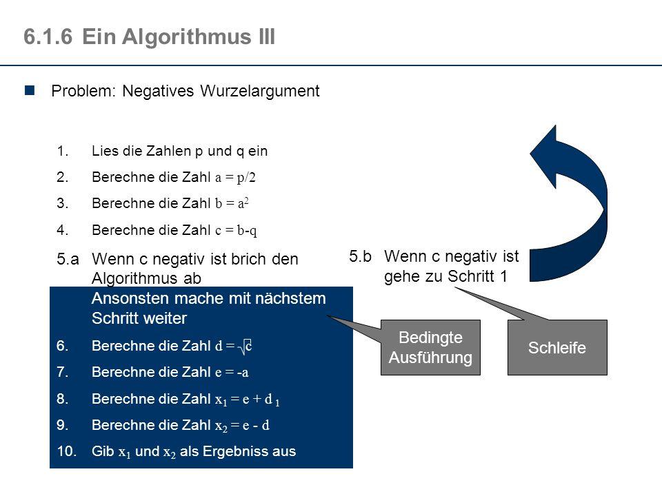 6.1.5Vergleich der Algorithmen Berechne die Zahl w = p 2 /4 - q Berechne die Zahl x 1 = -p/2 + w Berechne die Zahl x 2 = -p/2 - w Berechne die Zahl p/