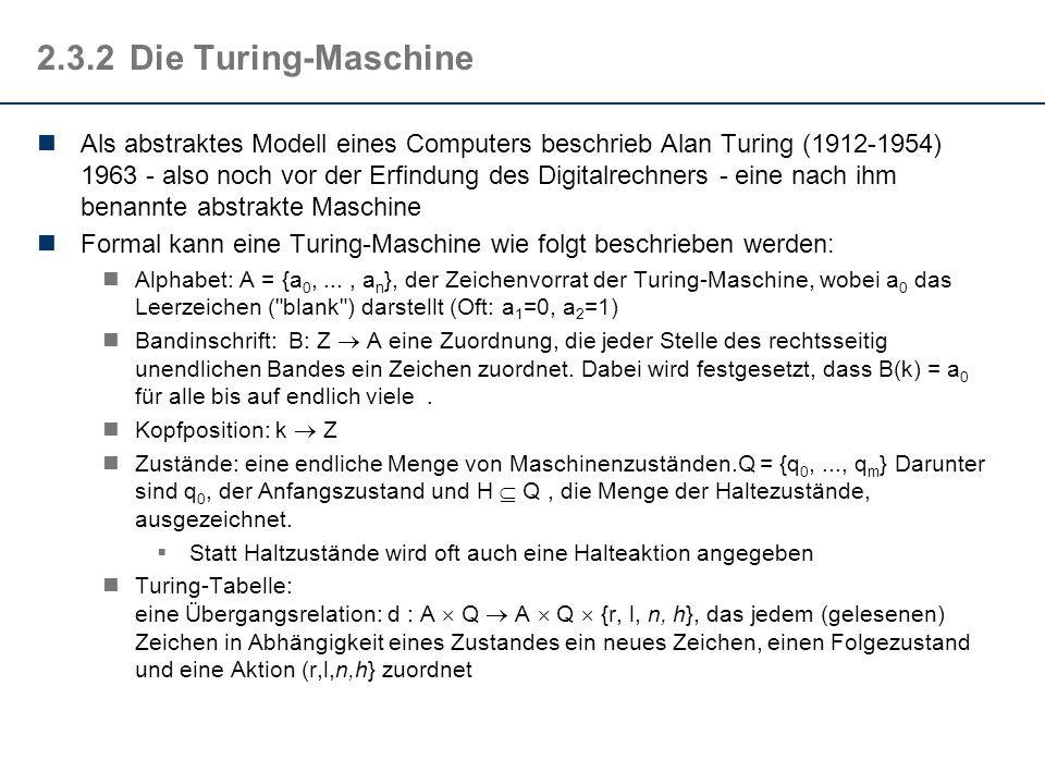 2.3.2Die Turing-Maschine Als abstraktes Modell eines Computers beschrieb Alan Turing (1912-1954) 1963 - also noch vor der Erfindung des Digitalrechner
