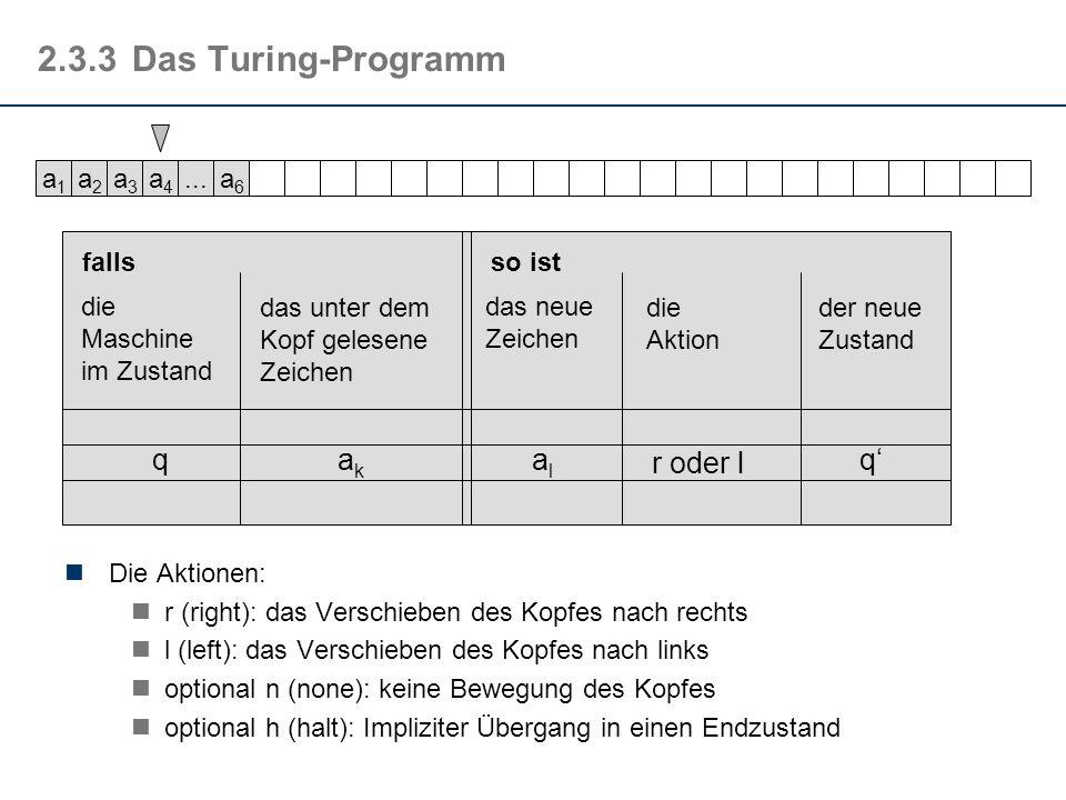 2.3.3Das Turing-Programm Die Aktionen: r (right): das Verschieben des Kopfes nach rechts l (left): das Verschieben des Kopfes nach links optional n (n