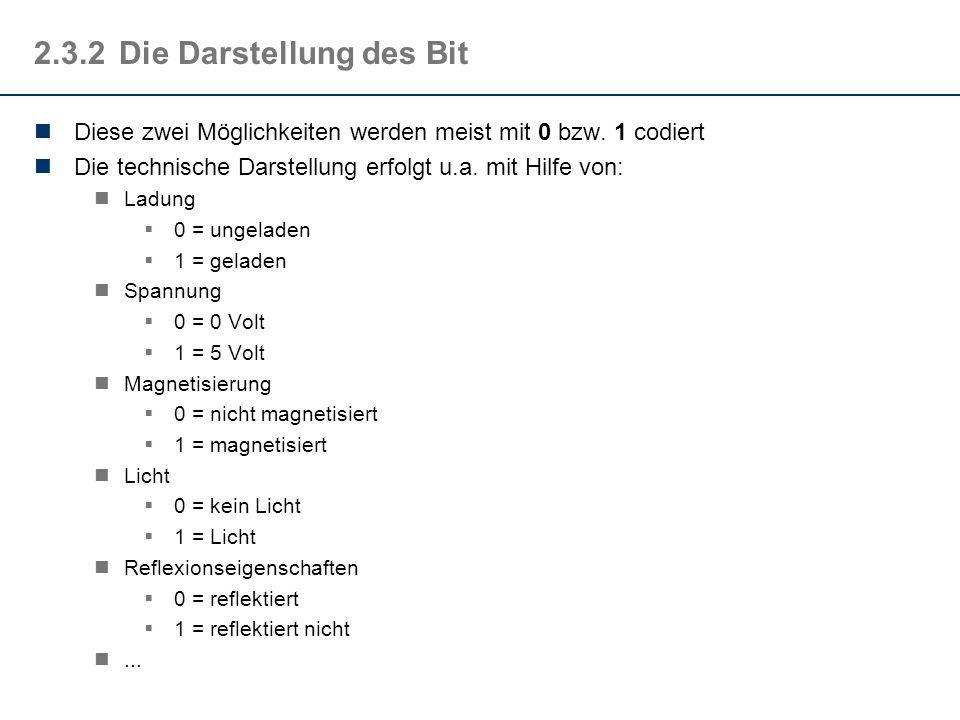 2.3.2Die Darstellung des Bit Diese zwei Möglichkeiten werden meist mit 0 bzw. 1 codiert Die technische Darstellung erfolgt u.a. mit Hilfe von: Ladung