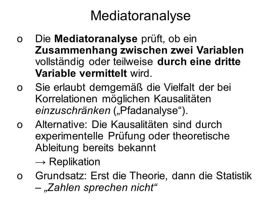 Mediatoranalyse oDie Mediatoranalyse prüft, ob ein Zusammenhang zwischen zwei Variablen vollständig oder teilweise durch eine dritte Variable vermitte
