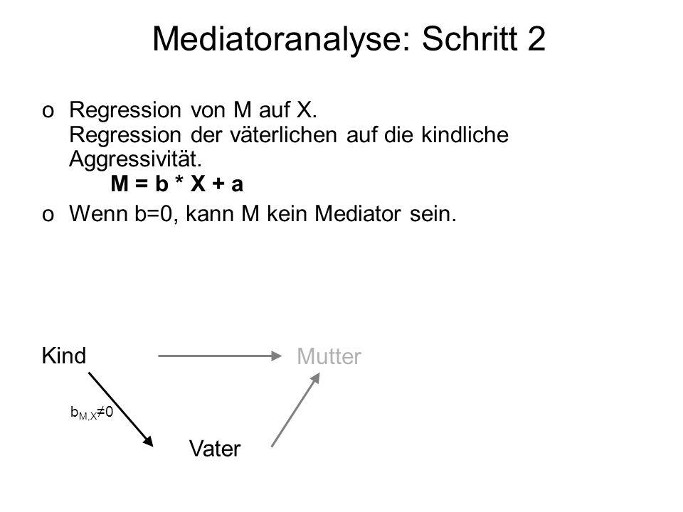Mediatoranalyse: Schritt 2 oRegression von M auf X. Regression der väterlichen auf die kindliche Aggressivität. M = b * X + a oWenn b=0, kann M kein M