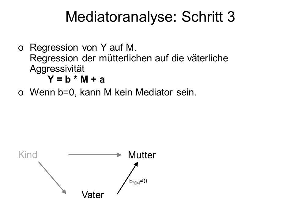 Mediatoranalyse: Schritt 3 oRegression von Y auf M. Regression der mütterlichen auf die väterliche Aggressivität Y = b * M + a oWenn b=0, kann M kein