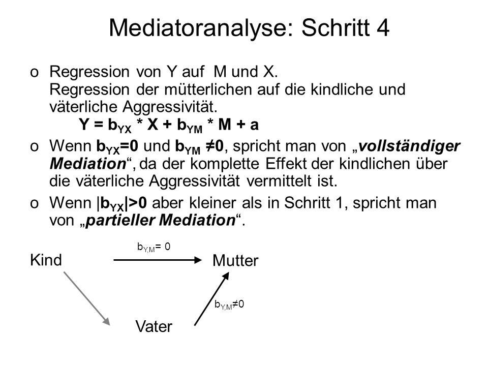 Mediatoranalyse: Schritt 4 oRegression von Y auf M und X. Regression der mütterlichen auf die kindliche und väterliche Aggressivität. Y = b YX * X + b