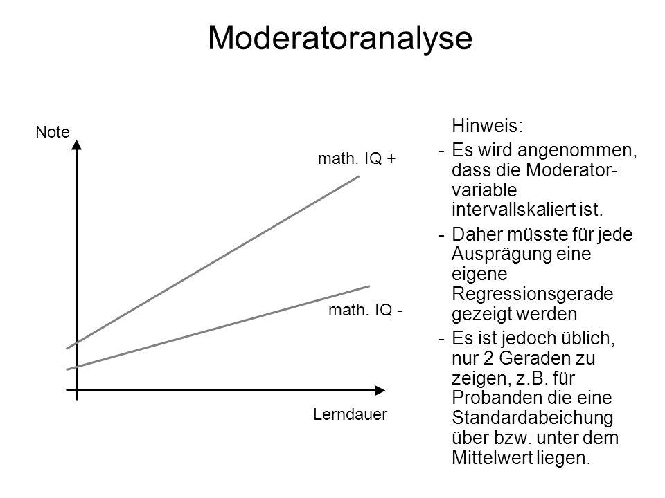 Moderatoranalyse Note Lerndauer math. IQ - math. IQ + Hinweis: -Es wird angenommen, dass die Moderator- variable intervallskaliert ist. -Daher müsste