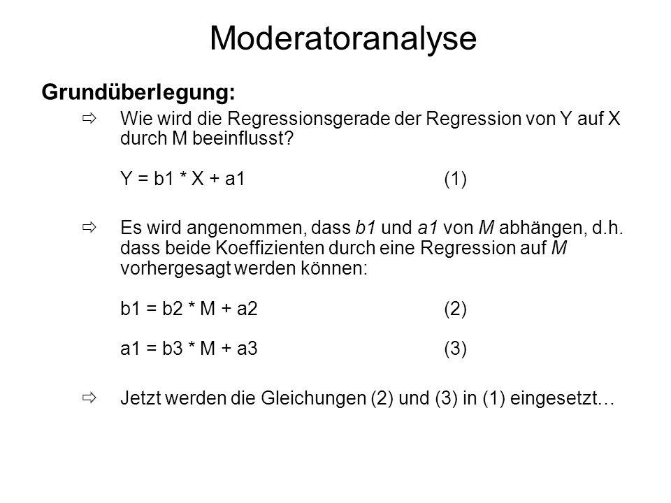 Moderatoranalyse Grundüberlegung: Wie wird die Regressionsgerade der Regression von Y auf X durch M beeinflusst? Y = b1 * X + a1(1) Es wird angenommen