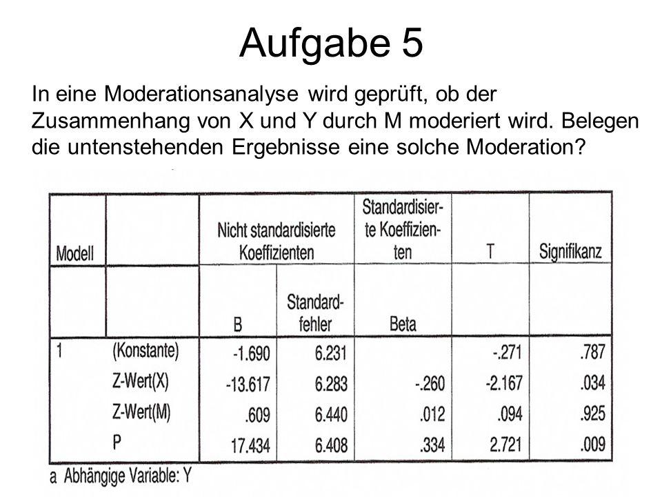 Aufgabe 5 In eine Moderationsanalyse wird geprüft, ob der Zusammenhang von X und Y durch M moderiert wird. Belegen die untenstehenden Ergebnisse eine