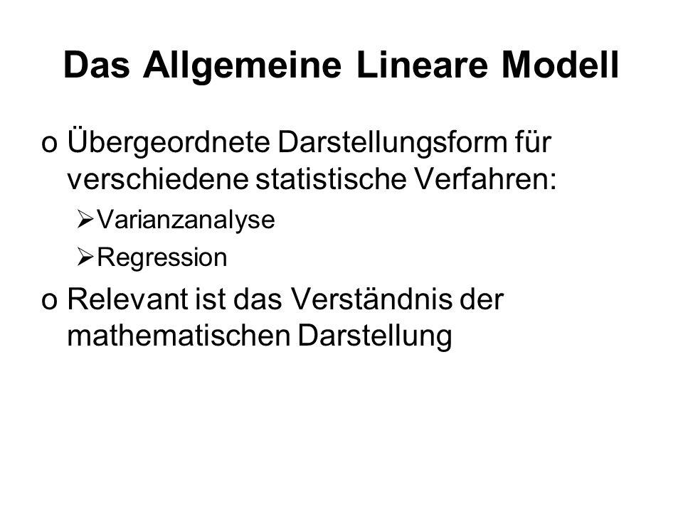 Das Allgemeine Lineare Modell oÜbergeordnete Darstellungsform für verschiedene statistische Verfahren: Varianzanalyse Regression oRelevant ist das Ver