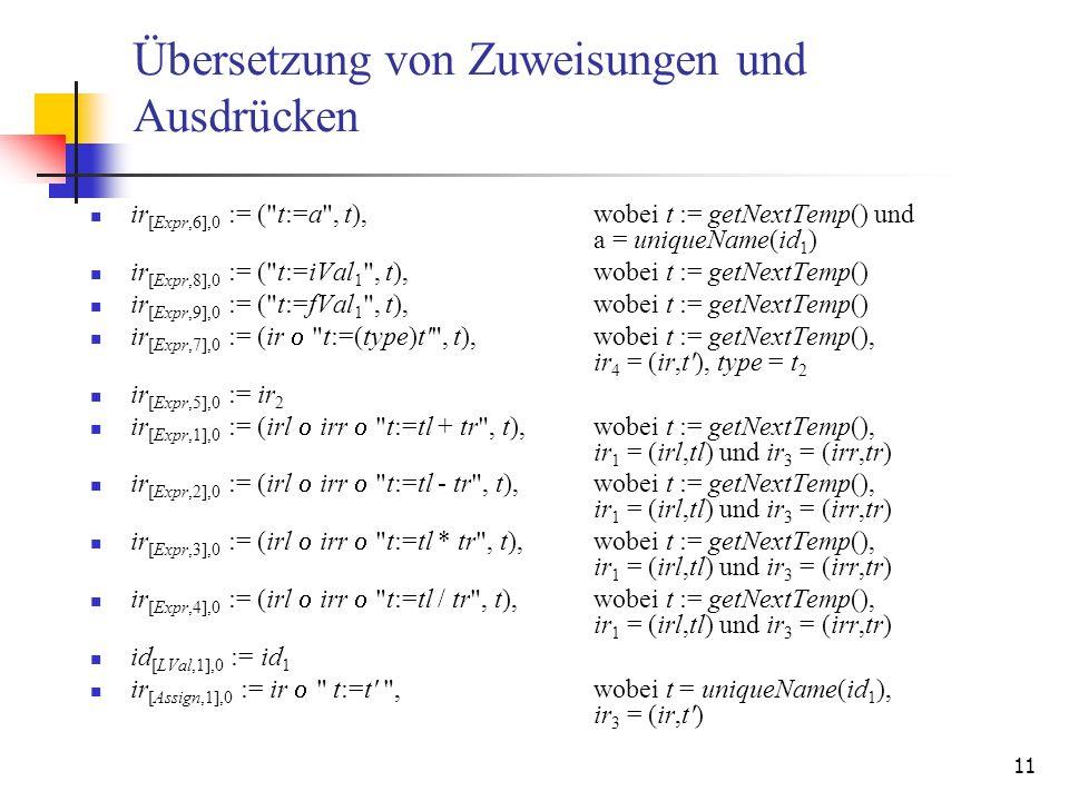11 Übersetzung von Zuweisungen und Ausdrücken ir [Expr,6],0 := (