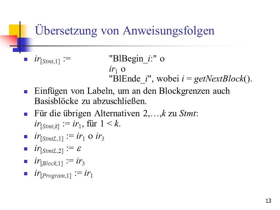 13 Übersetzung von Anweisungsfolgen ir [Stmt,1] :=