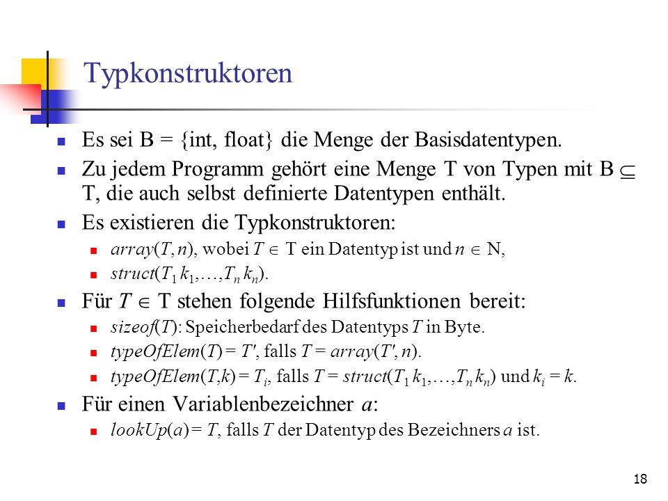 18 Typkonstruktoren Es sei B = {int, float} die Menge der Basisdatentypen. Zu jedem Programm gehört eine Menge T von Typen mit B T, die auch selbst de