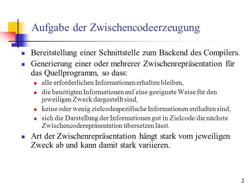 2 Aufgabe der Zwischencodeerzeugung Bereitstellung einer Schnittstelle zum Backend des Compilers. Generierung einer oder mehrerer Zwischenrepräsentati