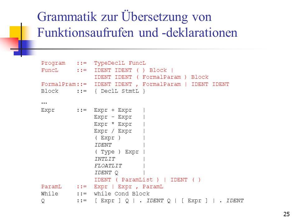 25 Grammatik zur Übersetzung von Funktionsaufrufen und -deklarationen Program::=TypeDeclL FuncL FuncL::=IDENT IDENT ( ) Block | IDENT IDENT ( FormalPa