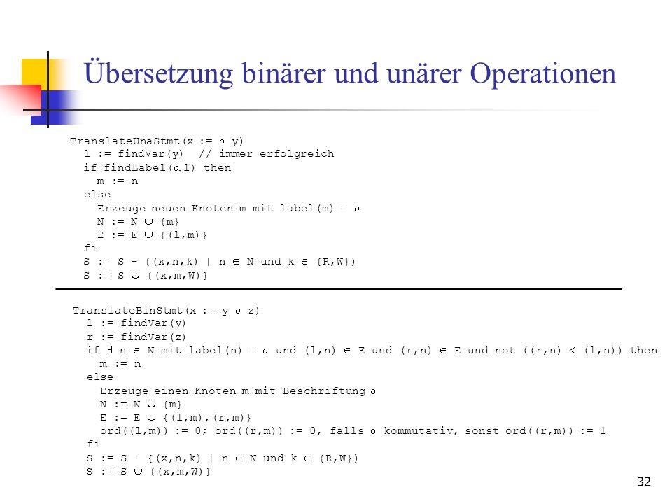 32 Übersetzung binärer und unärer Operationen TranslateBinStmt(x := y z) l := findVar(y) r := findVar(z) if n N mit label(n) = und (l,n) E und (r,n) E