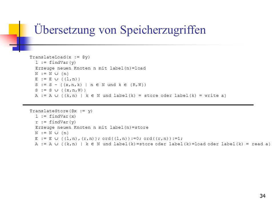 34 Übersetzung von Speicherzugriffen TranslateStore(@x := y) l := findVar(x) r := findVar(y) Erzeuge neuen Knoten n mit label(n)=store N := N {n} E :=