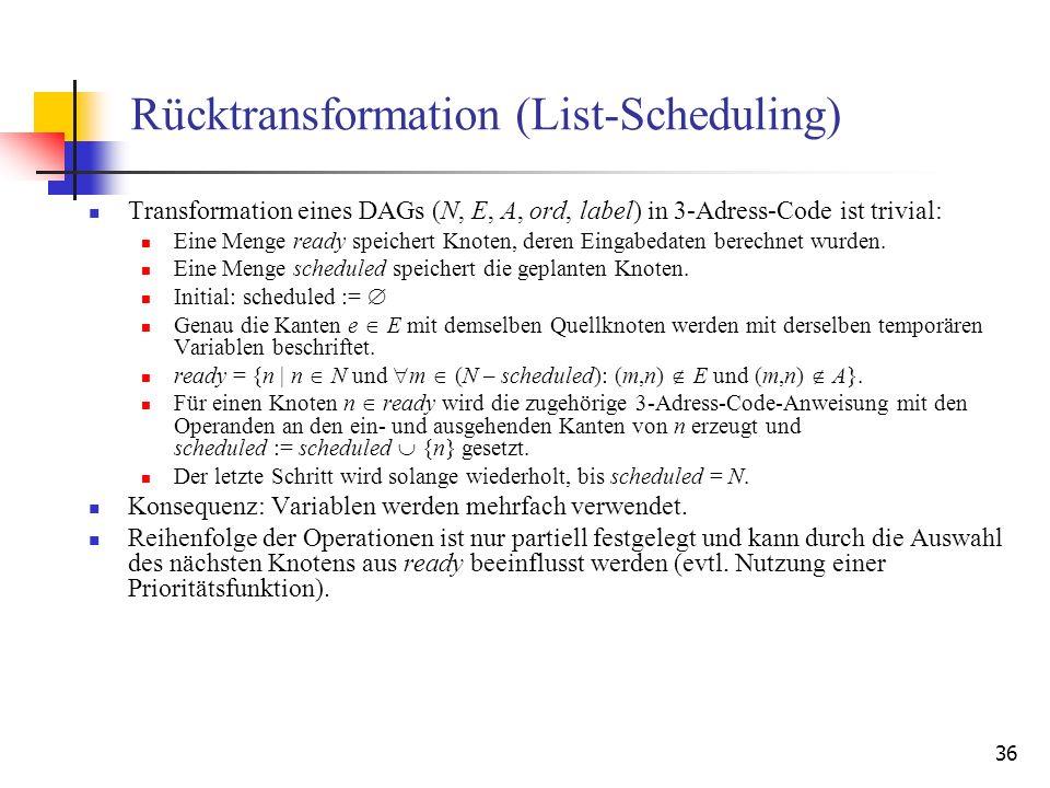 36 Rücktransformation (List-Scheduling) Transformation eines DAGs (N, E, A, ord, label) in 3-Adress-Code ist trivial: Eine Menge ready speichert Knote