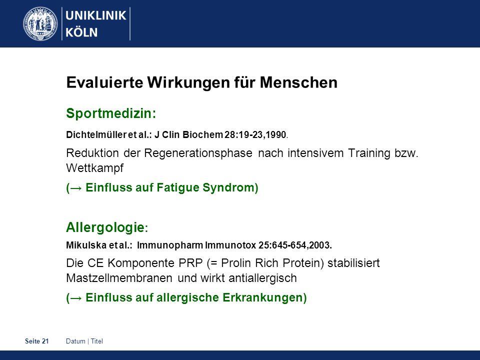 Datum | TitelSeite 21 Evaluierte Wirkungen für Menschen Sportmedizin: Dichtelmüller et al.: J Clin Biochem 28:19-23,1990. Reduktion der Regenerationsp