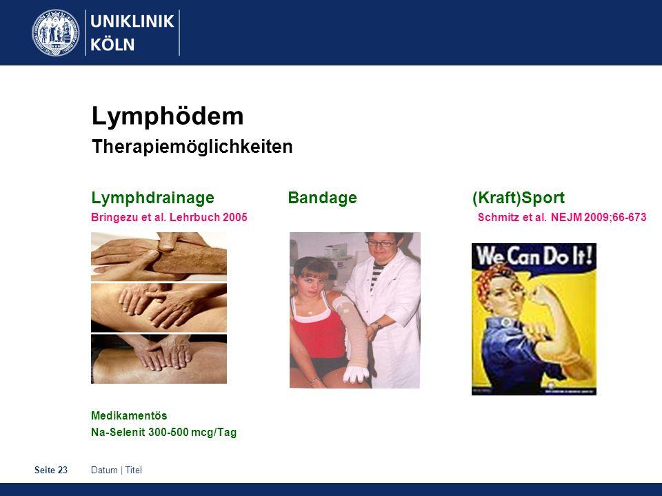 Datum | TitelSeite 23 Lymphödem Therapiemöglichkeiten Lymphdrainage Bandage (Kraft)Sport Bringezu et al. Lehrbuch 2005 Schmitz et al. NEJM 2009;66-673