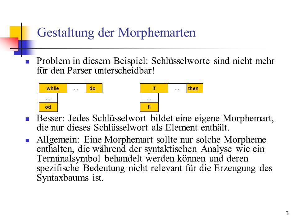 3 Gestaltung der Morphemarten Problem in diesem Beispiel: Schlüsselworte sind nicht mehr für den Parser unterscheidbar.