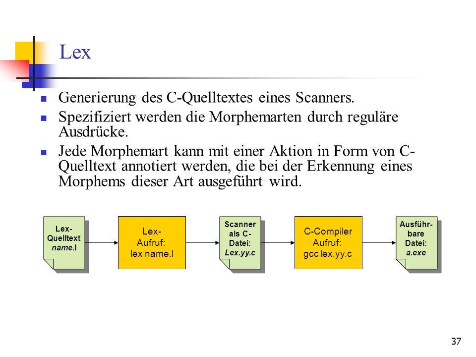 37 Lex Generierung des C-Quelltextes eines Scanners.