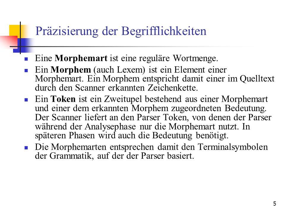 5 Präzisierung der Begrifflichkeiten Eine Morphemart ist eine reguläre Wortmenge.
