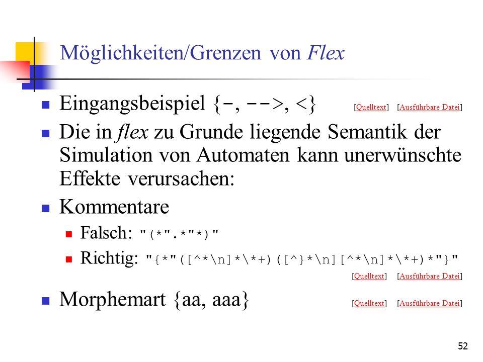 52 Möglichkeiten/Grenzen von Flex Eingangsbeispiel { -, -->, < } [Quelltext] [Ausführbare Datei]QuelltextAusführbare Datei Die in flex zu Grunde liegende Semantik der Simulation von Automaten kann unerwünschte Effekte verursachen: Kommentare Falsch: (* .* *) Richtig: {* ([^*\n]*\*+)([^}*\n][^*\n]*\*+)* } [Quelltext] [Ausführbare Datei]QuelltextAusführbare Datei Morphemart {aa, aaa} [Quelltext] [Ausführbare Datei]QuelltextAusführbare Datei
