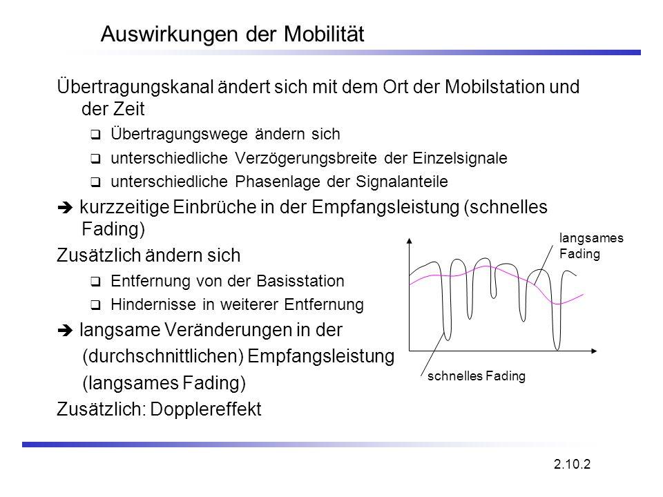 Auswirkungen der Mobilität Übertragungskanal ändert sich mit dem Ort der Mobilstation und der Zeit Übertragungswege ändern sich unterschiedliche Verzö
